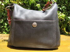 Coach pebble leather black with saddle tan trim vintage classic all leather 8E98