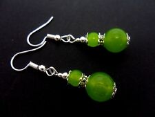 A PAIR OF LIME GREEN PERIDOT JADE SILVER  PLATED DROP DANGLY  EARRINGS. NEW.