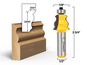 """Small Standard Crown Cap Molding Router Bit - 1/2"""" Shank - Yonico 16111"""