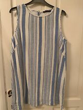 M&S Blue Striped Part Linen Dress 18 Petite