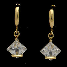 18K Gold Plated Earring Dangle Lady Prismatic Fashion Costume Jewel CZ Clear 506