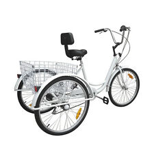 "White 3-Wheel 24"" Adult Tricycle Trike Bicycle Beach Cruise 6-Speed W/ Basket"