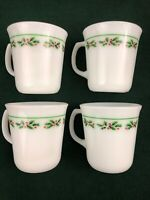 VTG Set of 4 White Corning Christmas Holiday Holly Berry Leaves Coffee Mugs Cup
