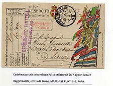 STORIA POSTALE 1919 REGNO CARTOLINA POSTA MILITARE IN FRANCHIGIA Z/2668