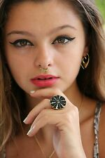 Fake Septum Nose ring Tribal Brass Non Pierced Jewelry Piercing Clicker Clip On