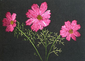 "ACEO Original ""Pink Cosmos"" Silk Hand Embroidery - A Lobban"