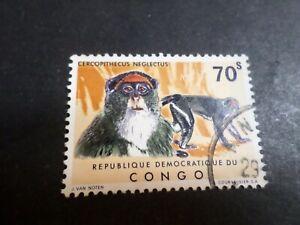 Congo Rep. Democrática, 1971 , Sello 787 , Animales, Mono, Matasellado