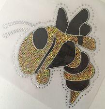 Iron On Transfer Applique Sequin/Rhinestone Team Mascot Yellowjacket Bee Hornet