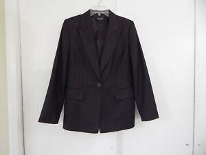 womens brown KASPER jacket blazer one button modern career medium 10