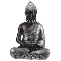 Thai Buddha Figur Teelichthalter sitzend schwarz silber glänzend Statue 29,5 cm