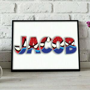 Personalised Superhero Character Theme Name Word Art Print Gift Keepsake Nursery