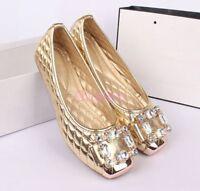Glitter Womens Wedding Flat Loafers Shoes Rhinestone Metal Toe Ballet Free P&P