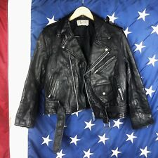 Vintage FIGURE Black Faux Leather Distressed Motorcycle Biker Jacket Size M