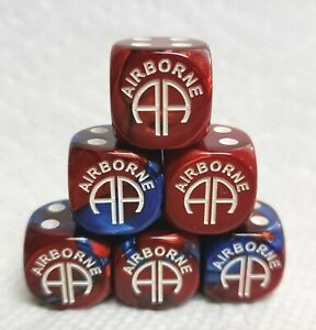 Dice - Chx Custom US Army's 82nd Airborne Logo - Gemini Blue/Red w/White Pips