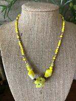 Sunny Sunshine Yellow Vintage Glass Flower Leaf Bead Bohemian Czech Necklace NOS