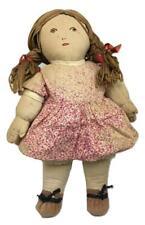 Antique 1930s Depression Large Folk Hand-Made Make-Do Blonde Girl Cloth Rag Doll