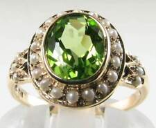 LARGE 9CT 9K GOLD 9mm x 7mm  PERIDOT & SEED PEARL ART DECO INS RING FREE RESIZE