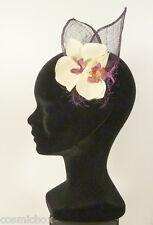 Chapeau de cérémonie femme EVA'LINE violet mauve foncé fleur orchidée purple hat