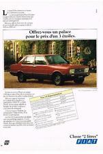 PUBLICITE  1982   FIAT  131 SUPERMIRAFIORI classe  2 litres