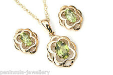 9ct Gold Peridot Pendant Celtic Necklace and Earring set Gift Boxed Made in UK