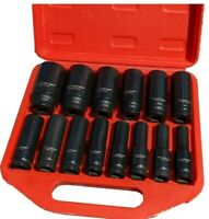 "14 Pc 1/2"" Drive Chrome Molybdenum Deep Impact Socket Set - Metric, 6 Point"