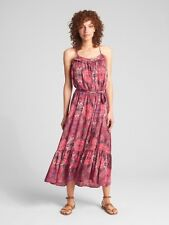 GAP Tiered Ruffle Print Cami Maxi Dress, Pink Print, Size XS, Retail  $79.95
