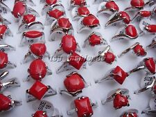 wholesale 10pcs Silver Tone mixed Red Natural turquoise Gemstone stone Ring FREE