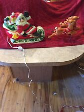 Empire Plastic Corp 1970 Lighted Santa Reindeer Sleigh Blow Mold Htf