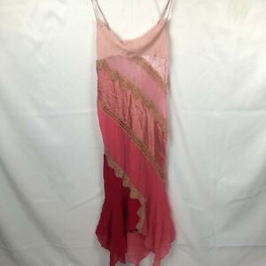 Victoria's Secret Silk Nightgown Slip Dress Color Block Pink Size Medium Lace