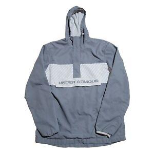 Under Armour Men's Gray White 1/4 Zip Lightweight Hooded Windbreaker Loose M