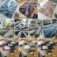 LARGE THICK HAND CARVED COLOURFUL GEOMETRIC PATTERNED HEATSET SOFT MODERN RUGS