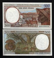 CENTRAL AFRICAN STATES CAMEROUN 500 FRANCS 1994 CAMEROON UNC P201 DEER CAS NOTE