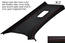 RED STITCH 2X REAR C PILLAR LEATHER COVERS FITS BMW 3 SERIES E46 COUPE 98-05