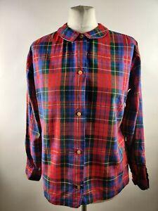 Vintage 90s Blouse Shirt Top Check Tartan Print Collar Button Retro Grunge 12 14