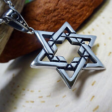 Men's Jewish Star of David Stainless Steel Religious Pendant