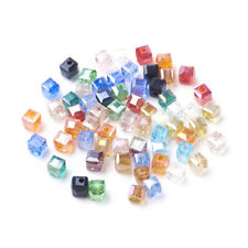 100 Random Electroplate Glass Cube Beads Faceted AB Color Tiny Loose Beads 4mm