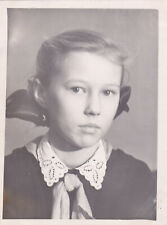 1950s Pretty young teen girl Pioneer school uniform bows child old Russian photo