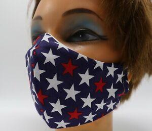 Patriotic Star Print Washable Cloth Face Mask, Reusable Cotton Travel Face Cover