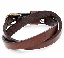 Casual Style Wide Leather Mens Brown Cuff Bangle Bracelet