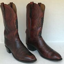 Lucchese 2000 Western Cowboy Boots Mens, Size 12 D, Brown Tooled Leather