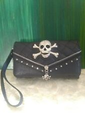 Skull and Crossbones Black Clutch/Purse with extra strap