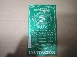 FESTIVAL 2003 ROCK AND ROLL 28,29,30 DE AGOSTO CÁDIZ  - ENTRADA TICKET