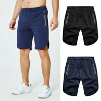 Men Sport Sweat Shorts Training Gym Running Workout Zip Pockets Half Pants Loose
