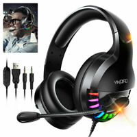 3.5mm Gaming Headset With Noise Cancelling Mic For PC Xbox One PS4 Stereo Bass