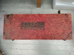 """Original antique """"World's Greatest Toy"""" Erector Set in wooden box."""