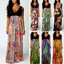 UK Women's Maxi Boho Floral Long Dress Summer Beach Evening Cocktail Party Dress