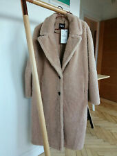 ZARA AW19 Faux Shearling Long Fur Teddy Lapels Coat M L XL Beige Camel 4341/232
