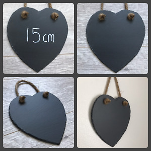 Handmade slate hanging heart chalkboard blackboard shabby chic weddings 15cm