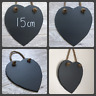 Handmade slate hanging heart chalkboard blackboard shabby chic weddings 15cm