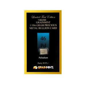 Palladium 1/10 (0.1) Gram Ingot 99.9% Bullion Card - GrainMint